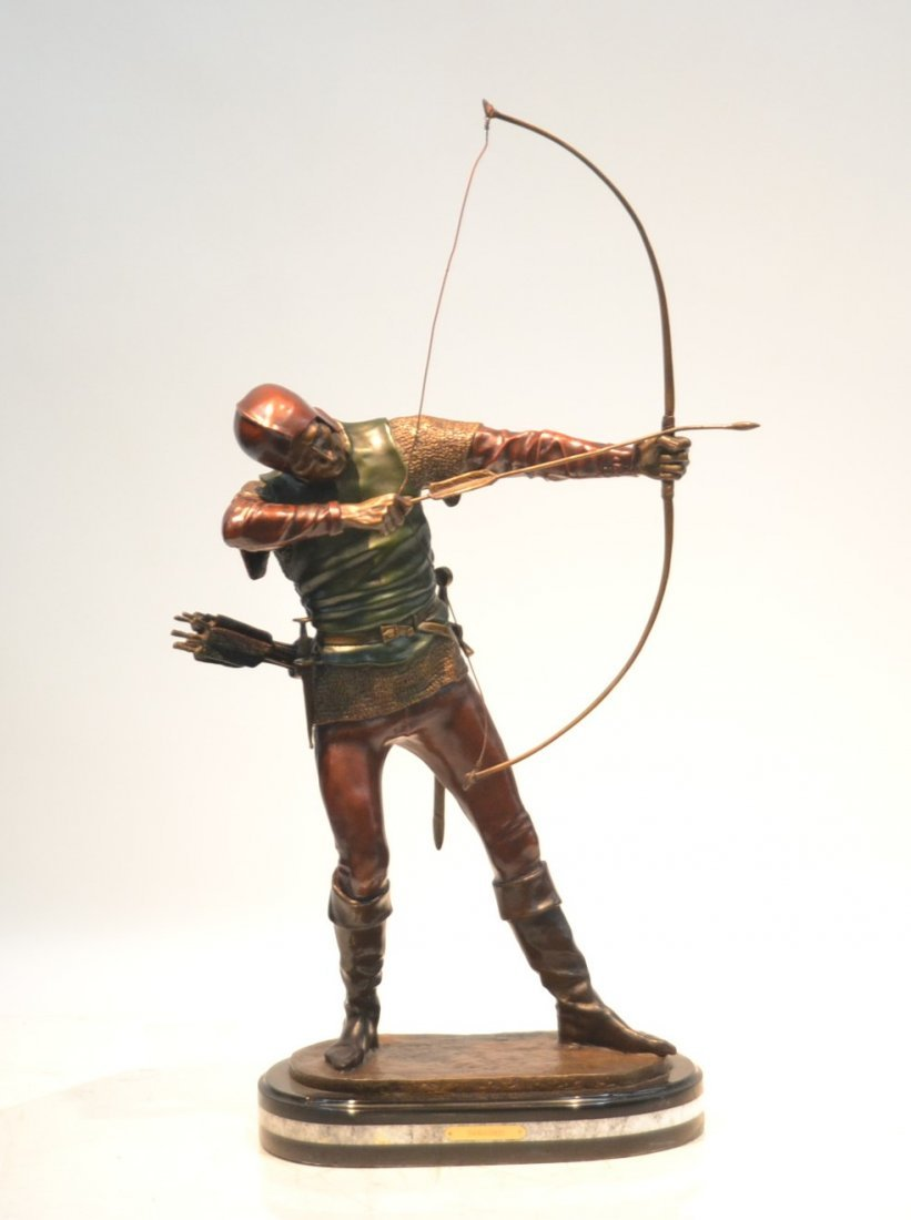 COLD PAINTED BRONZE ARCHER SIGNED