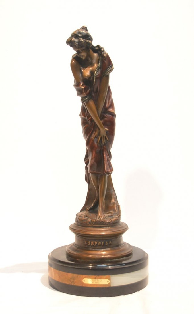 CONTEMPORARY COLD PAINTED BRONZE OF WOMAN