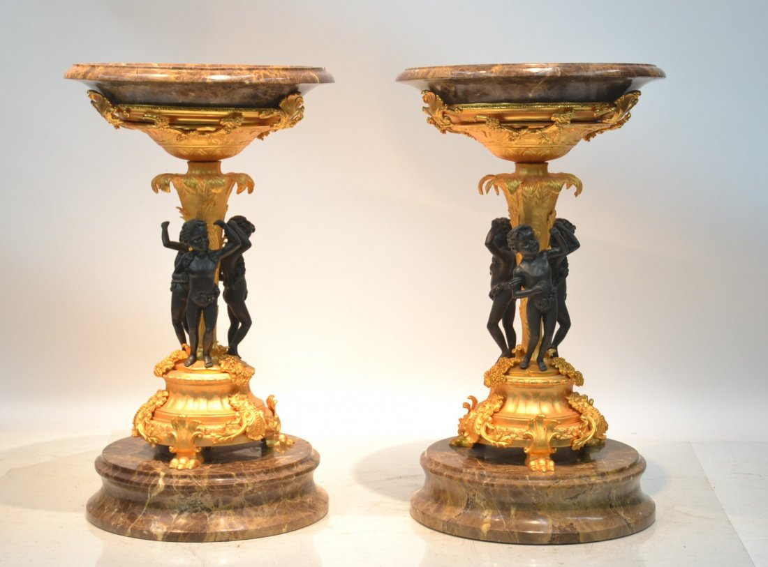 (Pr) HEAVY MARBLE & GILT BRONZE STANDS WITH
