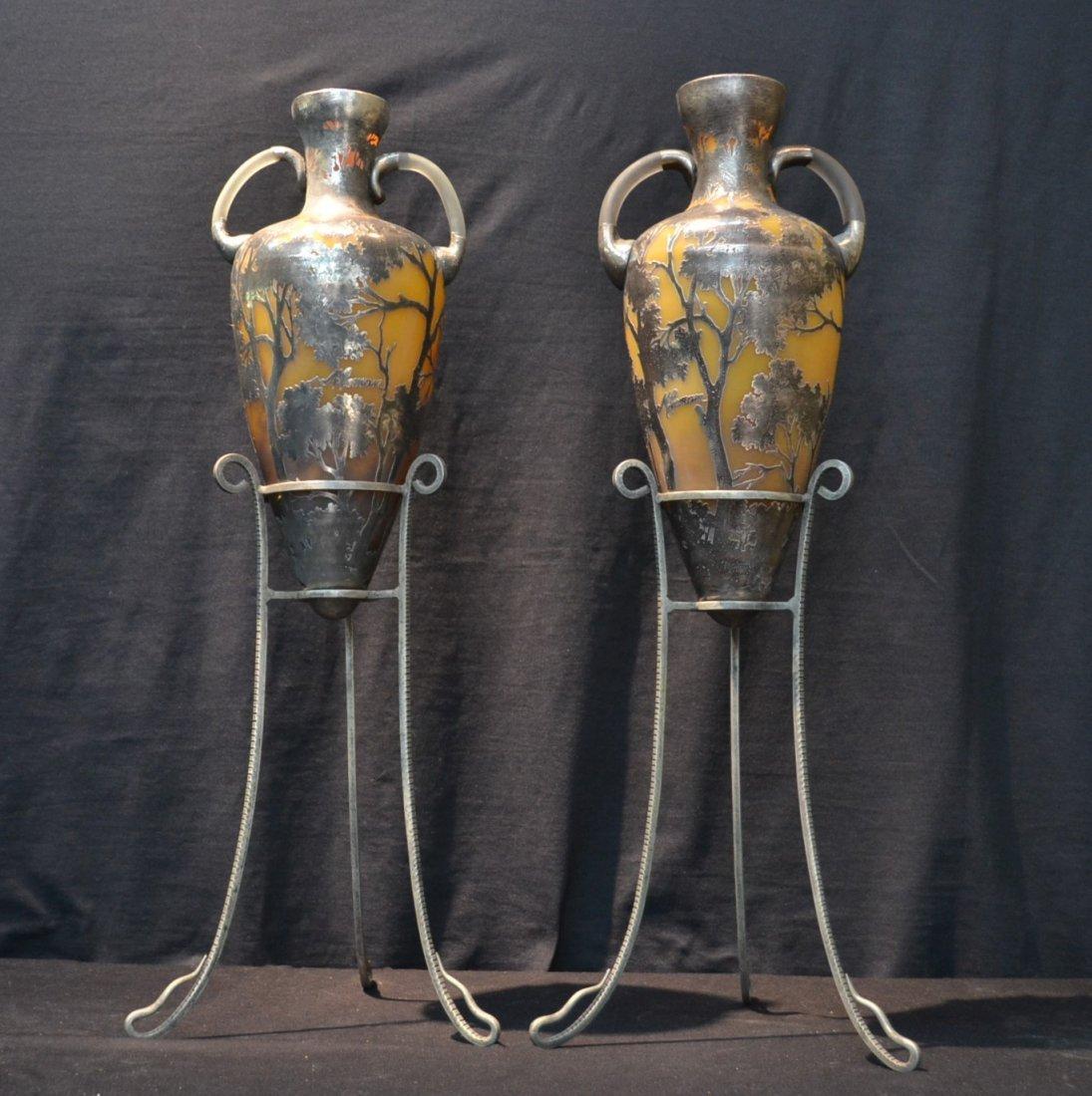 (Pr) SCENIC SILVER OVERLAY ORANGE CAMEO GLASS