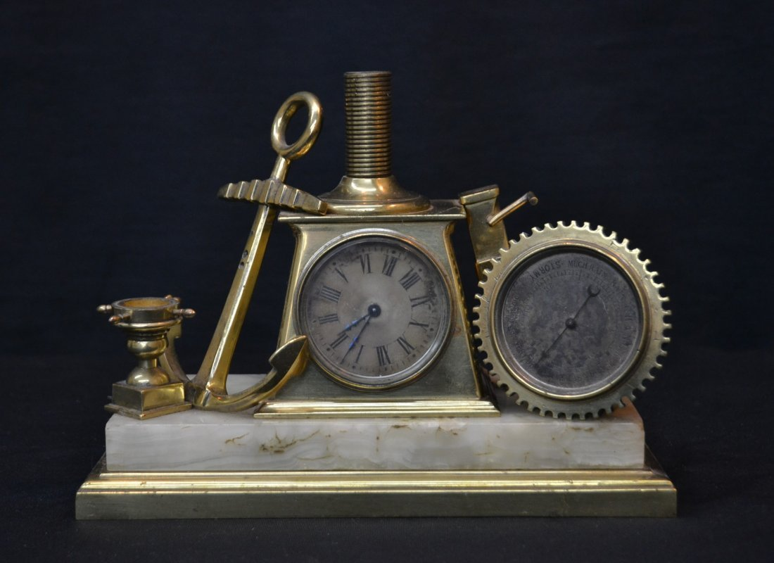 BRONZE SHIPS CLOCK WITH BAROMETER WITH ANCHOR