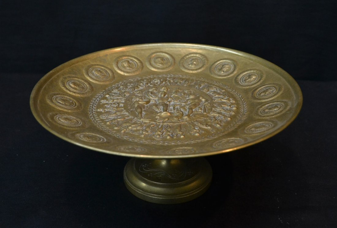 BRONZE TAZZA WITH ROMAN FIGURES & DOG IN CENTER