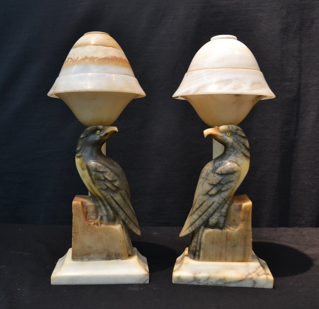 (Pr) ALABASTER BIRD LAMPS WITH DOME SHADES