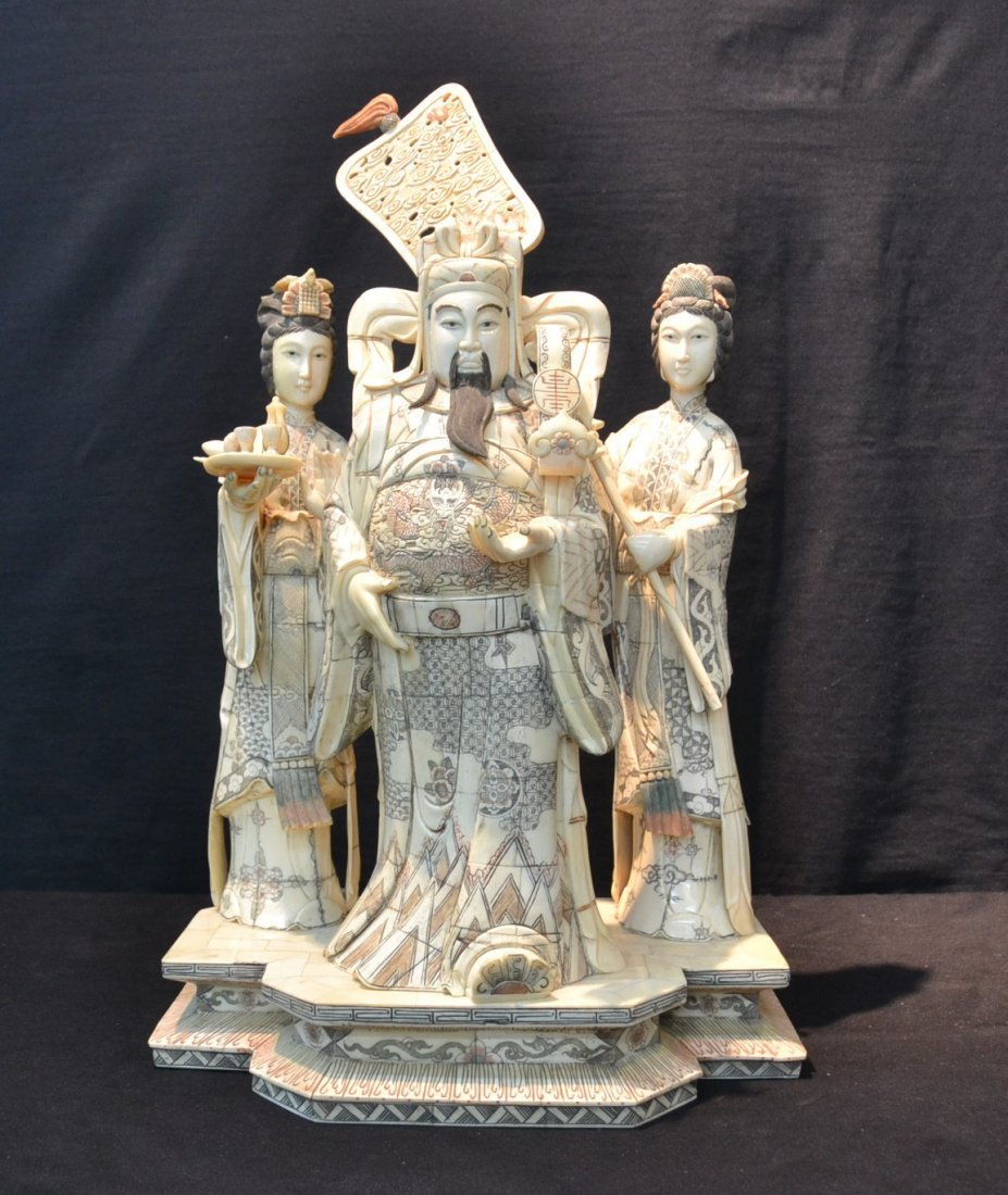 CHINESE BONE CARVING OF DIETY BEING SERVED