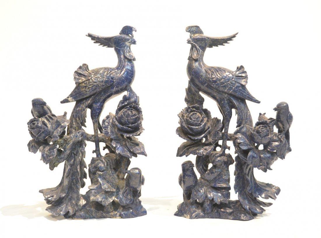 (Pr) LAPIS LAZULI PHEONIX BIRD ON BRANCH CARVINGS