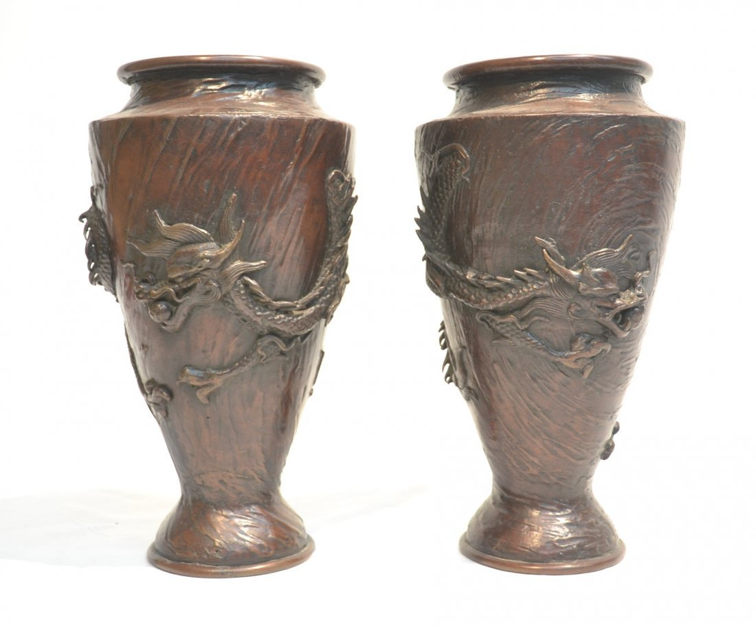 (Pr) JAPANESE BRONZE HIGH RELEIF VASES WITH