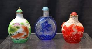 3 PEKING OVERLAY GLASS SNUFF BOTTLES