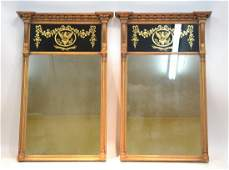 (Pr) EMPIRE GILT WOOD TRUMEAU MIRRORS WITH
