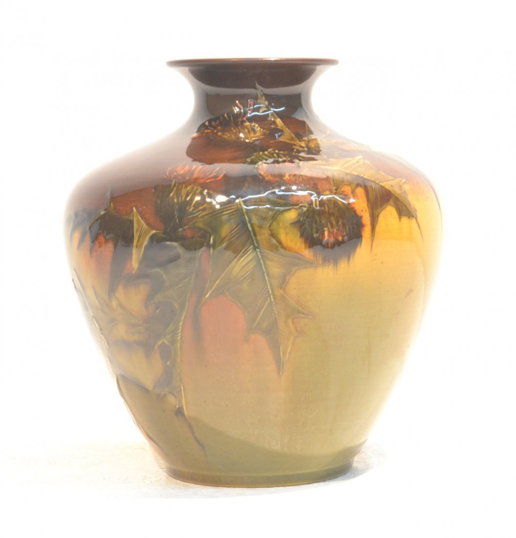 WPMD ROOKWOOD VASE WITH LEAVES & FLOWERS ;