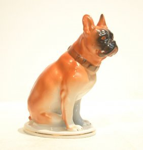 Russian Porcelain Seated Bulldog Figure