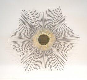 Harry Bertoia Style Welded Steel Sunburst Mirror