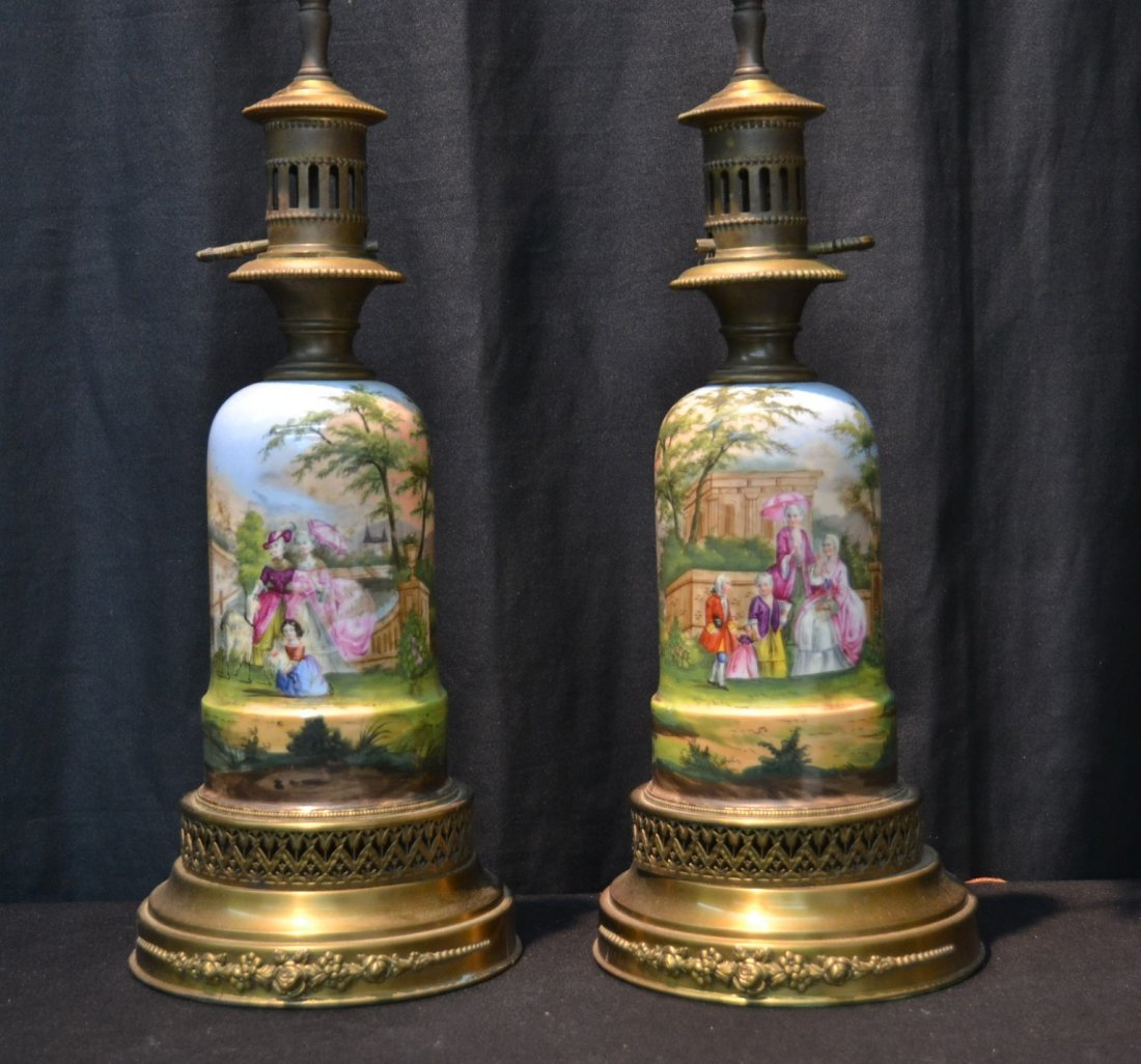 (Pr) HAND PAINTED FRENCH PORCELAIN OIL LAMPS