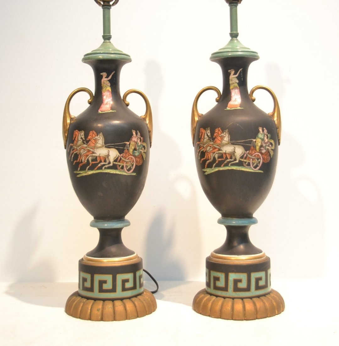 (Pr) HAND PAINTED LAMPS WITH GRECIAN FIGURES &