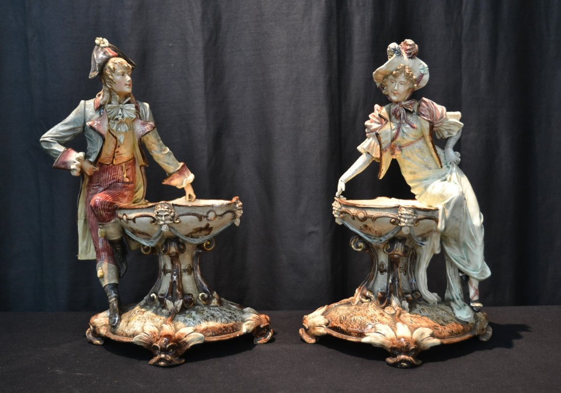 (Pr)  MAJOLICA FIGURES LEANING ON FOUNTAIN FORM