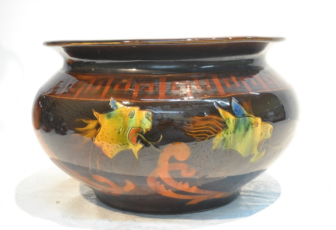OWENS UTOPIAN POTTERY JARDINIERE WITH DRAGONS
