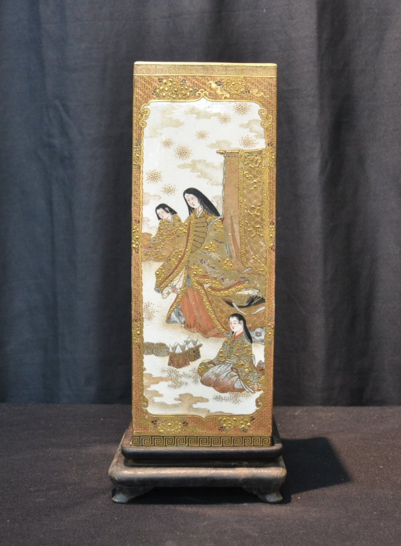 4-PANEL SATSUMA VASE WITH FIGURES ALL AROUND &