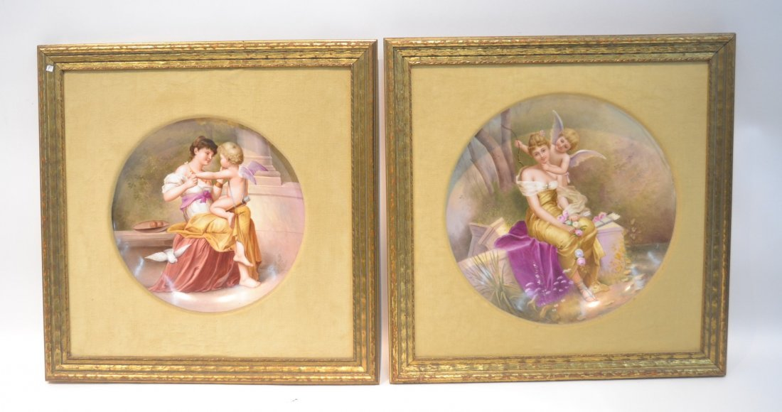 (Pr) FRAMED HAND PAINTED ROYAL VIENNA CHARGERS