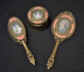 (3) Bronze & Guilloche Enamel Dresser Set