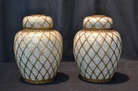 (pr) Japanese Covered Urns With Bronze Mounts