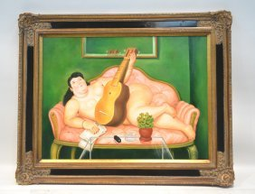 Fernando Botero Oil Reproduction On Canvas