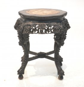 Carved Rosewood Marble Top Taboret Stand