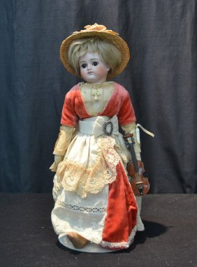 Bisque Turned Shoulder Head Doll With