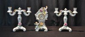 (3)pc Von Schierholz Porcelain Clock Set