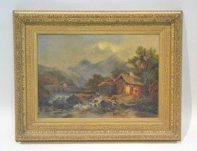 19thc Oil On Canvas Cabin & Stream Landscape