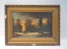 Dutch Oil On Canvas Horses Driving Carriage In