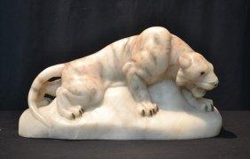 Carved Alabaster Lion On Rock Form Lamp