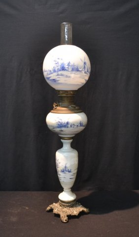 All Original Blue & White Banquet Oil Lamp