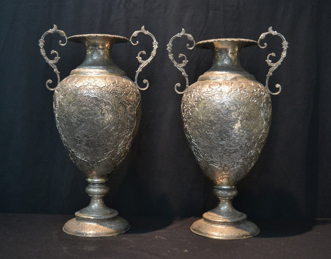(Pr) LARGE HEAVILY EMBOSSED PERSIAN SILVER URNS