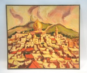 Oil On Canvas Overview Of Israel Cityscape