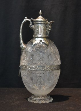 Victorian Cut Glass & Silver Decanter With