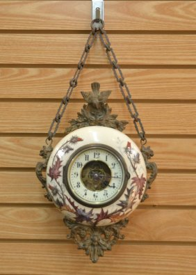 French Enamel & Gilt Metal Wall Clock With