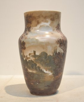 Baccarat Opaline Vase With Scenic Castle In