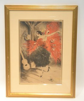 "Louis Icart Etching Of ""the Flamenco Dancer"""