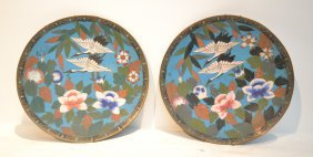 (pr) 19thc Cloisonne Chargers With Pheonix Birds