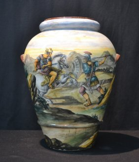 Large Majolica Vase With Hand Painted Battle Scene