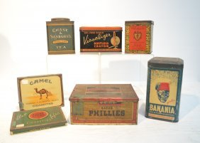 (7) Vintage Tin Boxes Including Lucky Strike ,