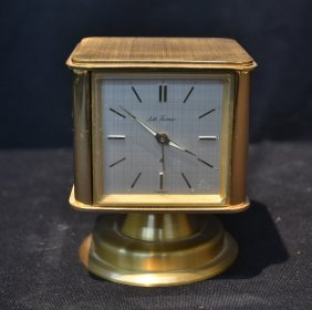 Square Rotating Seth Thomas Bronze Clock -
