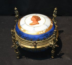 Porcelain Hinged Box With Portrait Of Woman