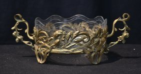 Twin Handle Foliate Bronze Bowl With Glass Liner