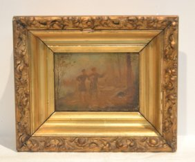 Small Oil On Canvas Of 2 Figures In Gilt Frame