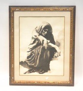 Sandu Lieberman Watercolor Of Of Girl Kneeling