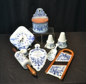 Assorted Blue & White Kitchen Lot Including