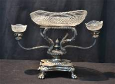 VICTORIAN SILVER PLATE  CUT GLASS EPERGNE