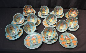 (12) Large Italian Pottery Cups & Saucers With