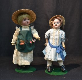(2) German Bisque Head Dolls Including