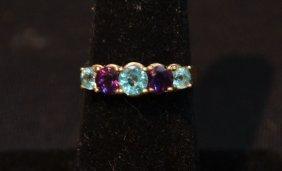 14kt Amethyst & Aqua Ring ; Size 6 1/2
